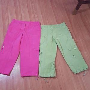 Pink cargo capris, green cargo capris